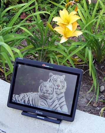 i500 Tablet outdoos among the flowers