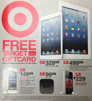 Target free gift card with purchase of iPhone or iPad
