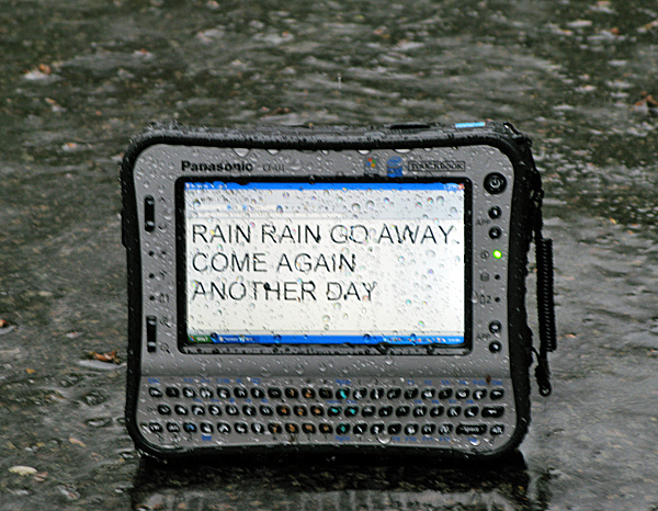 Panasonic ToughBook CF-U1 Rugged UMPC in Rain